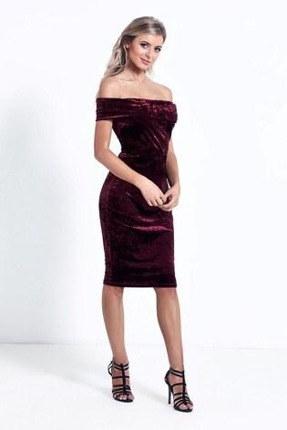 Sistaglam Velvet Bardot Bodycon Dress