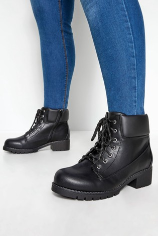 Yours Curve Combat Lace Up Ankle Boots In Extra Wide Fit