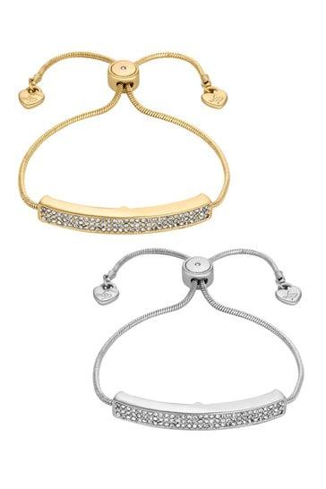 Lipsy Jewellery Gold and Silver Crystal Pave Bar Toggle Bracelet Set