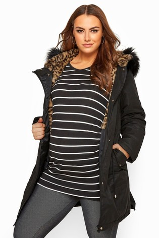 Bump It Up Maternity Animal Print Faux Fur Parka Coat