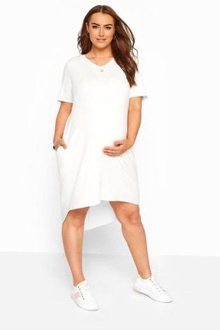 Bump It Up Cream Maternity Hooded Jersey Dress