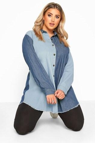 Bump It Up Blue Mixed Denim Shirt