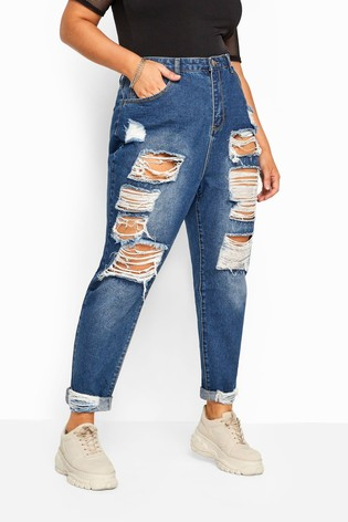 Yours Curve Extreme Ripped Mom Jeans