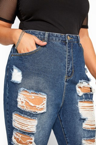 Yours Blue Curve Extreme Ripped Mom Jeans
