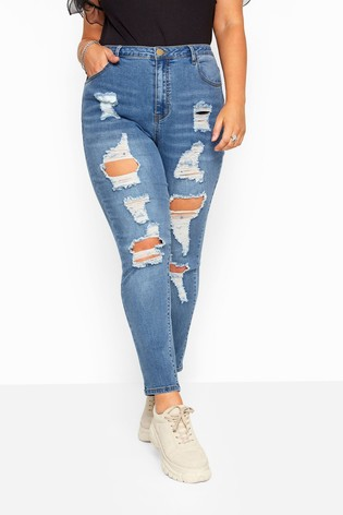 Yours Curve Skinny Ripped AVA Jeans