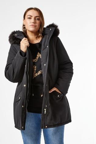 Dorothy Perkins Curve Fur Trim Parka