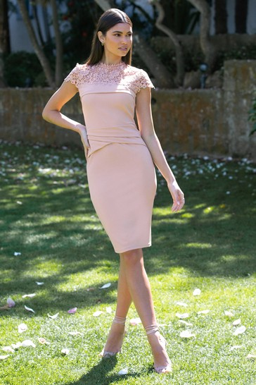 Lipsy Nude Lace Pleated Bodycon Dress