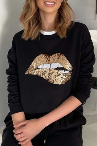 Lipsy Black Gold Lips Slash Neck Sweat
