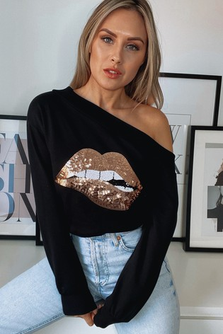 Lipsy Black Rose Lips Slash Neck Sweat