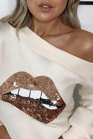 Lipsy Cream Lips Slash Neck Sweat