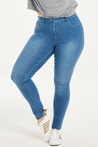 Simply Be Blue Lucy High Waist Super Soft Skinny Jeans