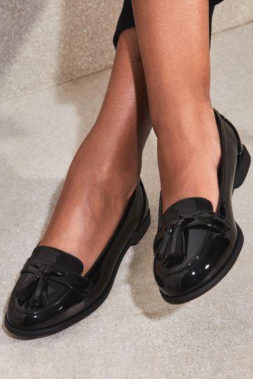 Lipsy Black Tassel Loafers