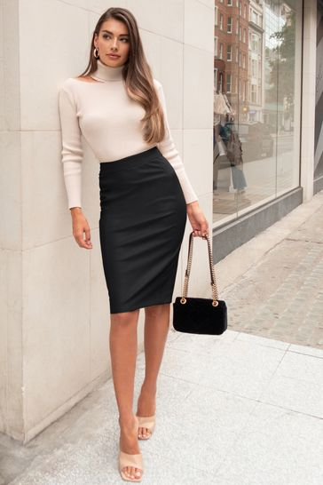 Lipsy Black Faux Leather Pencil Skirt