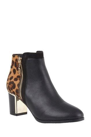 Lotus Footwear Black Heeled Ankle Boots