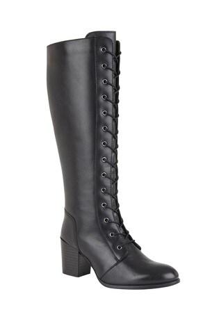 Lotus Footwear Black Knee Length Casual Boots