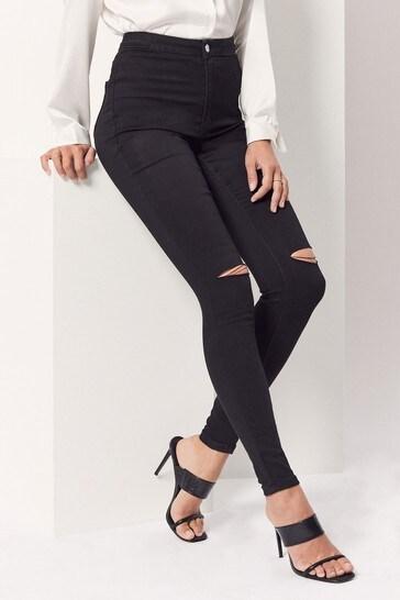 Missguided Knee Slash High Waisted Skinny Jean