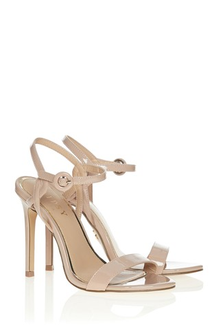 Lipsy Nude Covered Buckle Barely There Heels
