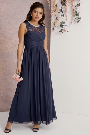 Lipsy Navy Elsa Lace Sleeveless Mesh Maxi Bridesmaid Dress