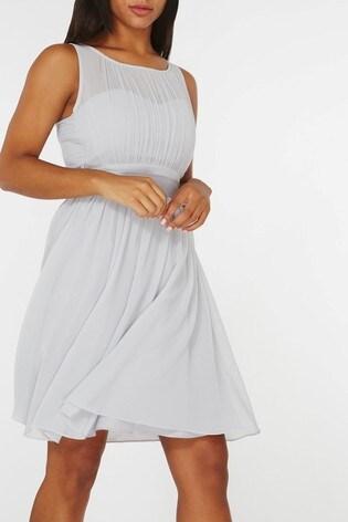 Dorothy Perkins Grey Pleated Chiffon Mini Dress With Satin Bow