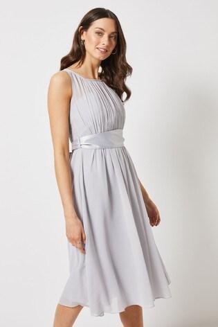 Dorothy Perkins Grey Pleated Chiffon Midi Dress With Satin Bow