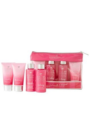 Grace Cole The Luxury Bathing Company Rhubarb, Vanilla & Bergamot Travel Bag Set