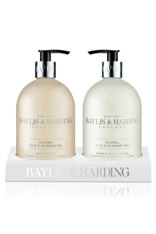 Baylis & Harding Jojoba, Silk And Almond Oil Hand Wash And Lotion In An Acrylic Rack