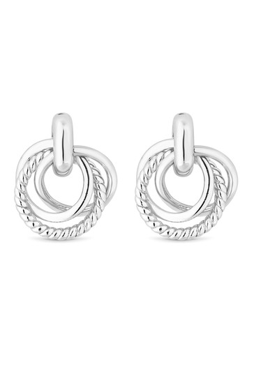 Simply Silver Sterling Silver Triple Ring Earring