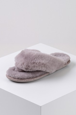 Just Sheepskin Purple Ladies Rose Sheepskin Sliders