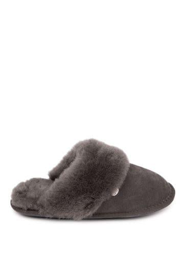 Just Sheepskin Grey Ladies Duchess Sheepskin Slippers