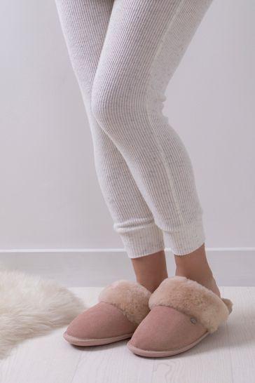 Just Sheepskin Pink Ladies Duchess Sheepskin Slippers