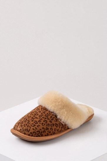 Just Sheepskin Leopard Print Ladies Duchess Sheepskin Slippers