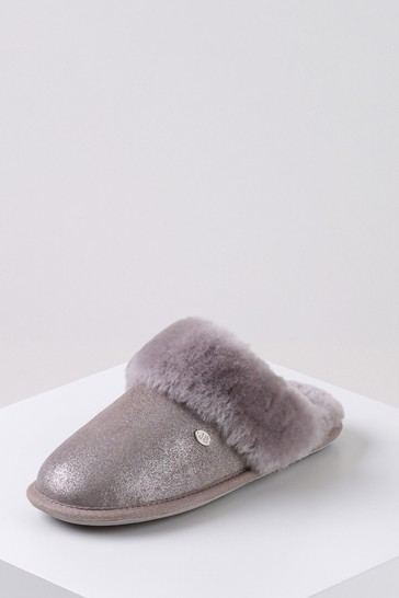 Just Sheepskin Silver Ladies Duchess Sheepskin Slippers