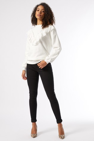 Dorothy Perkins Cream Tall Lace Trim Sweat Shirt