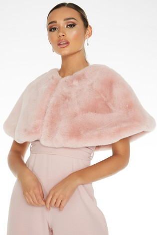 Quiz Pink Faux Fur Wrap Cape
