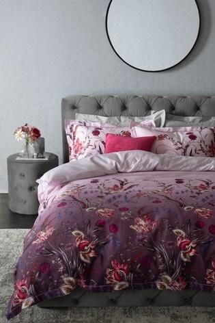 100% Cotton Sateen Ombre Plum Floral Duvet Cover and Pillowcase Set