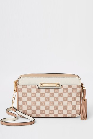 River Island Beige Monogram Check Boxy Cross Body Bag