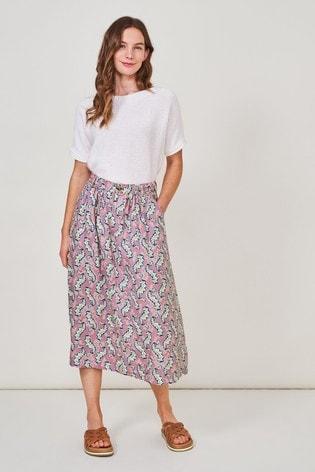White Stuff Purple Mia Linen Midi Skirt