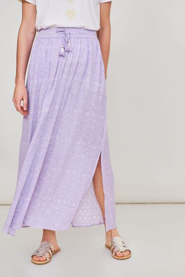 White Stuff Purple Sunny Crinkle Skirt