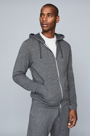 Reiss Dark Grey Greg Melange Zip Through Hoody