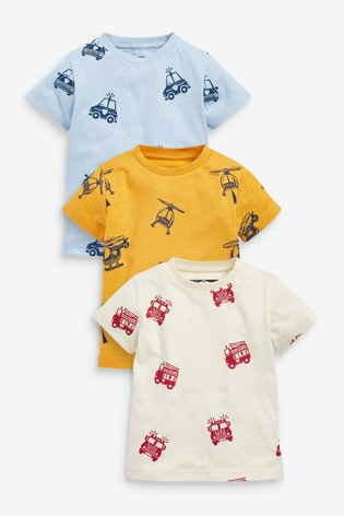 Transport 3 Pack All Over Print T-Shirts (3mths-7yrs)
