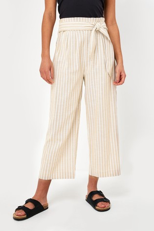 White Stripe Linen Trousers