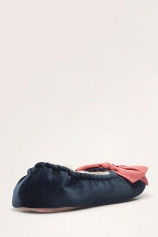 Boden Blue Cosy Velvet Bow Slippers
