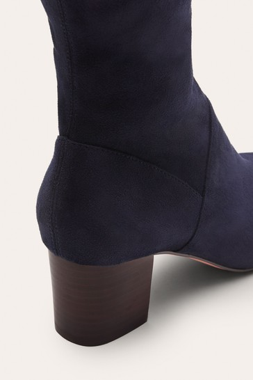 Boden Blue Round Toe Stretch Boots
