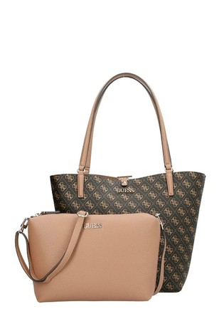Guess Brown Nude 2-In-1 Alby Tote Bag