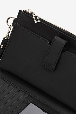 Guess Black Uptown Zip Clutch Bag