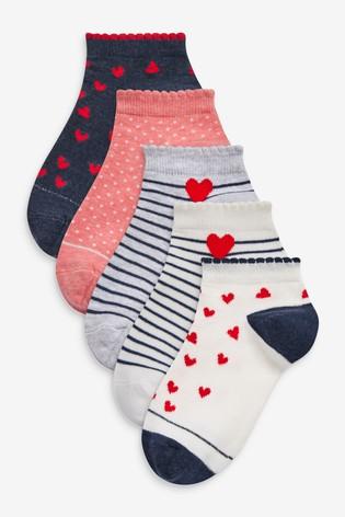 Heart Print 5 Pack Trainer Socks