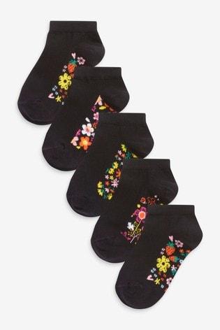 Black Floral 5 Pack Footbed Trainer Socks