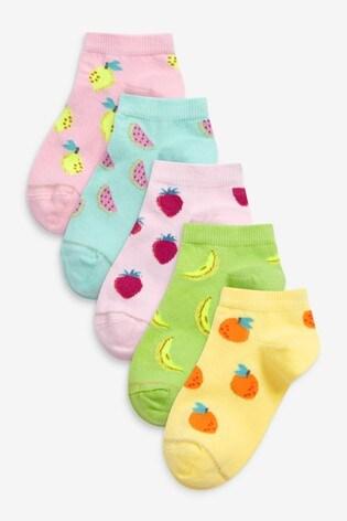 Fruit Print 5 Pack Trainer Socks