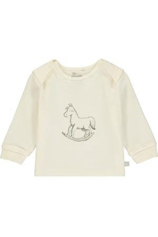 The Little Tailor Cream Rocking Horse Chest Print Top