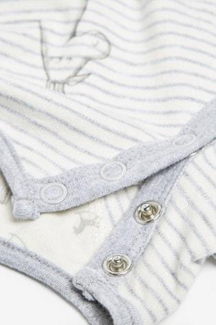 The Little Tailor Cream Stripe Rocking Horse Sleepsuit